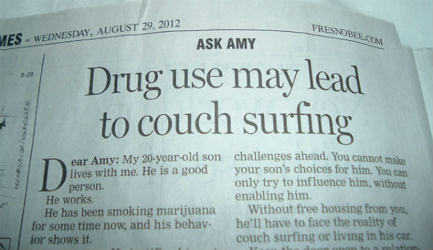 Drug use may lead to couch surfing